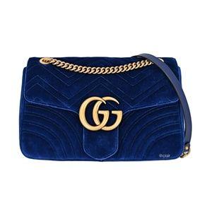 Medium GG Marmont Matelassé Velvet Shoulder Bag